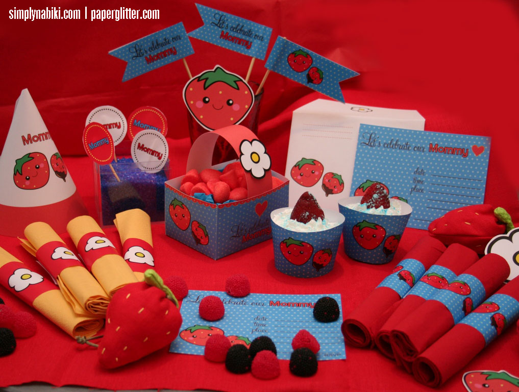 mother's day strawberry party kit